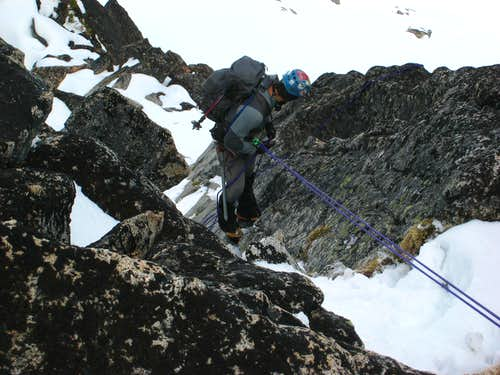 Rapping the east slabs on Argonaut