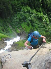 Climbing the Stuibenfall Via Ferrata