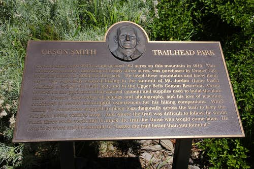 Orson Smith Trailhead Park Plaque