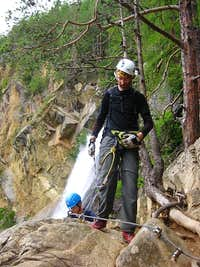 Me topping out the Lehner Wasserfall Via Ferrata