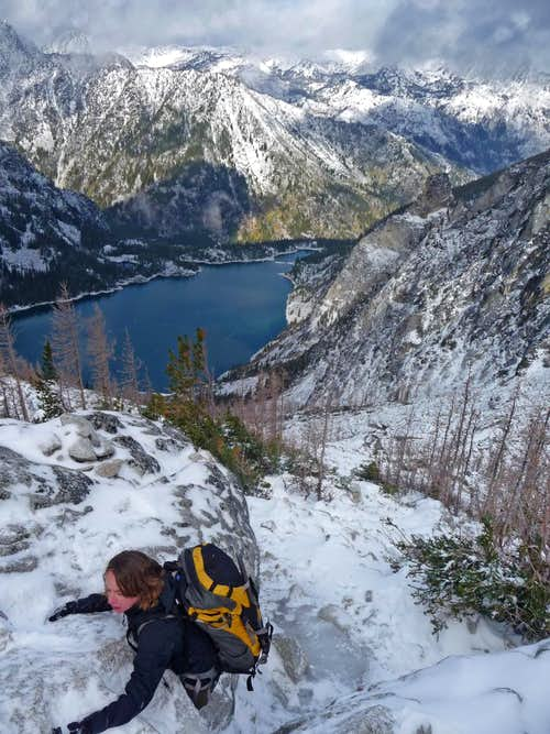 Slick Ice Scramble Below Aasgard Pass