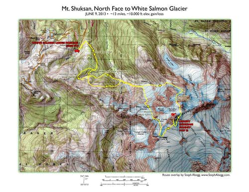 Map Shuksan North Ridge to White Salmon Glacier