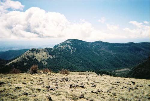 A view of North Baldy Peak in...