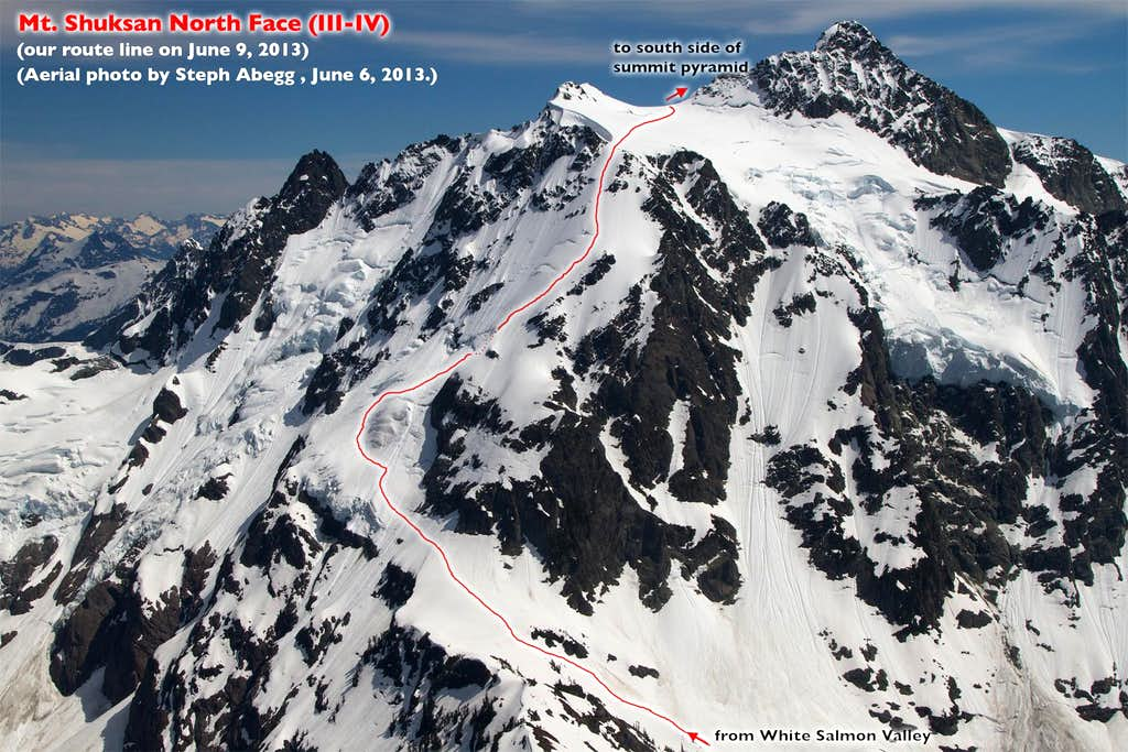 Mt. Shuksan North Face route overlay