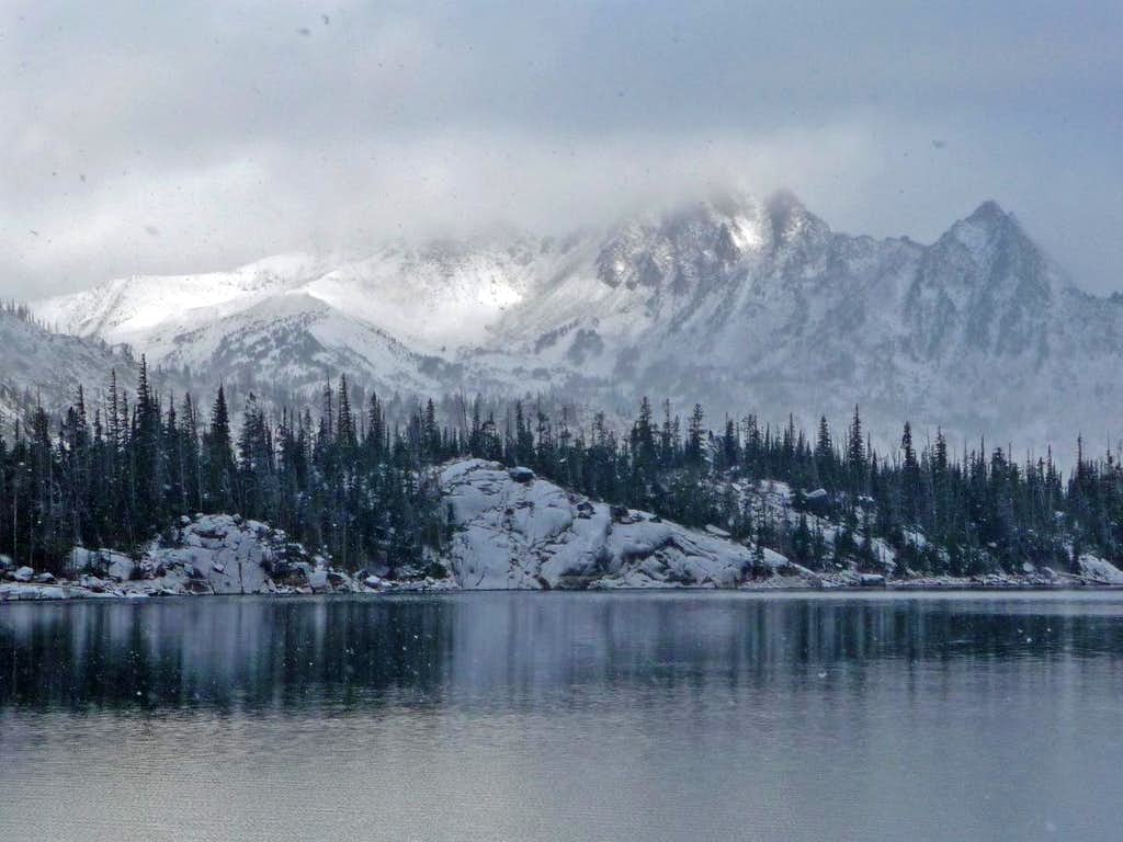 As the Snow Falls on Colchuck Lake