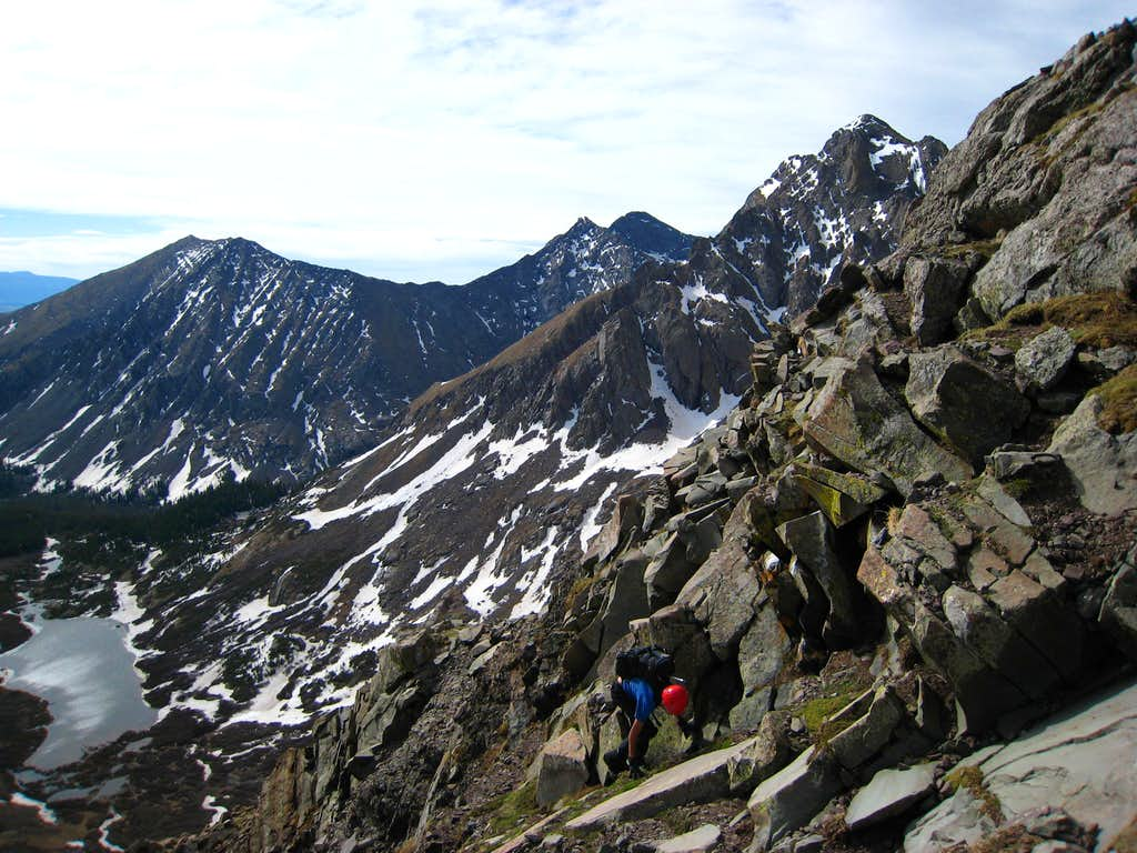 Scrambling up to the arete