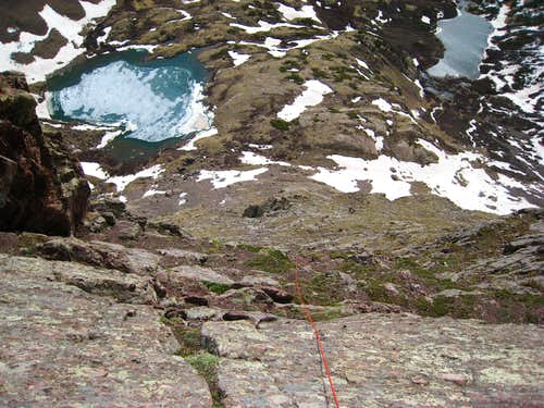 Looking down the Ellingwood arete