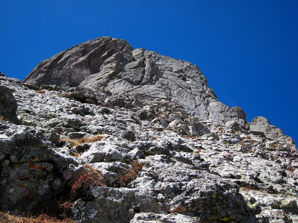 Looking up to the final headwall