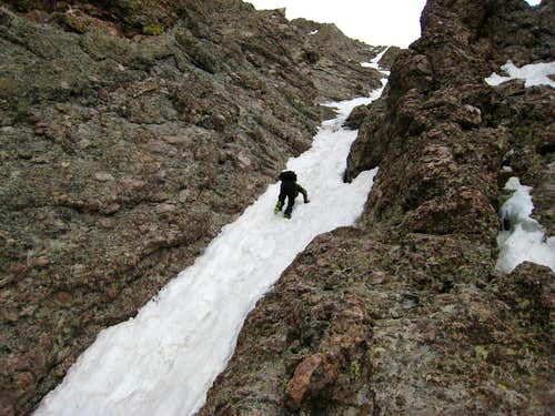 Down climbing a snow finger