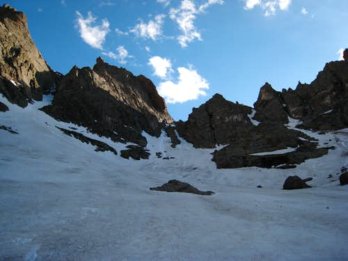 Looking up the snow we descended from the pass