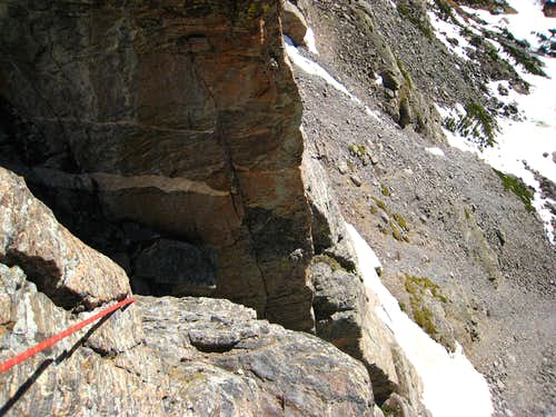 Belaying atop the second pitch