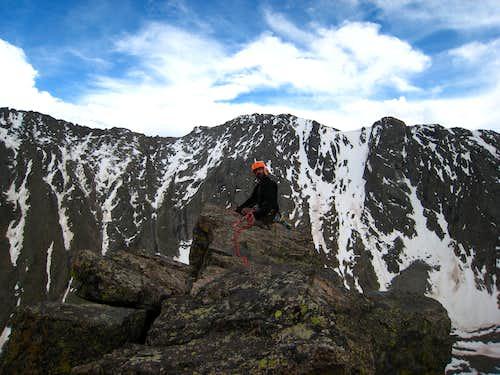 Jeff on the summit of Petit Grepon