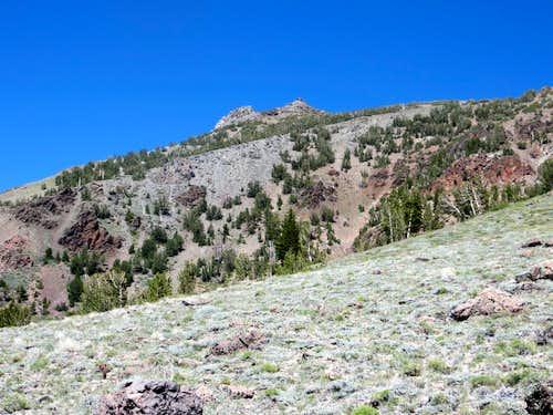 Descending Silver Peak - looking up at some rocks below Silver Peak