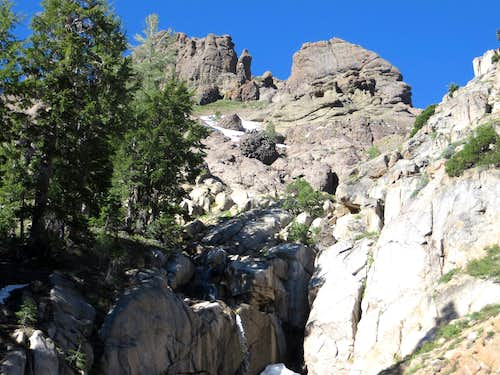 Rocks and waterfall above the PCT