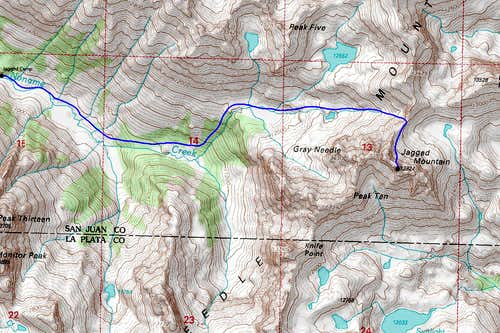 Jagged Mountain Standard Route Map