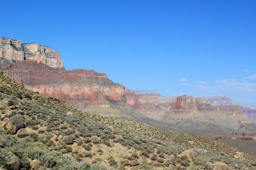 Looking up toward the South Rim from the South Kaibab Trail