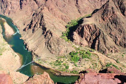 View of the Colorado River and Bright Angel Campground from the South Kaibab Trail
