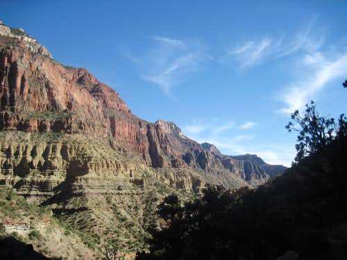 Coming down the North Kaibab Trail toward the Roaring Springs Ranger Station