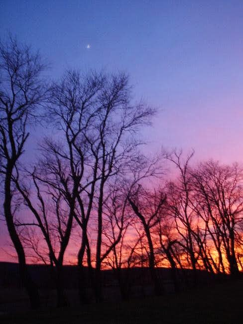 Sunset and moonset over Berry...