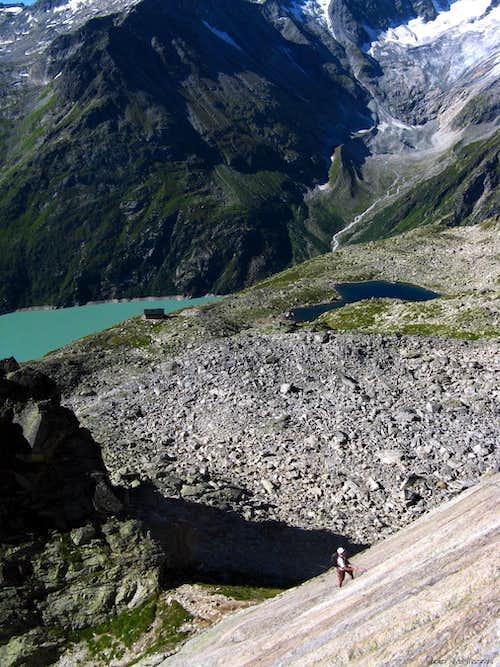 Goscheneralpsee seen from Andrea starting slabs, Bergseeschijen
