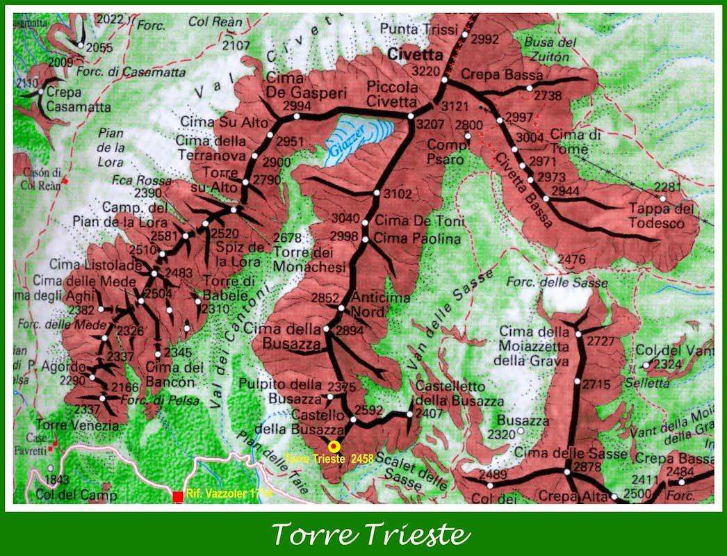 Torre Trieste Map Photos Diagrams Topos SummitPost - Trieste map