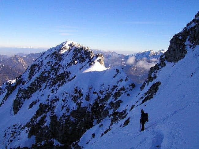Climbing on the north ridge...