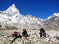 Negi, Shashi and Udisha on the glacier