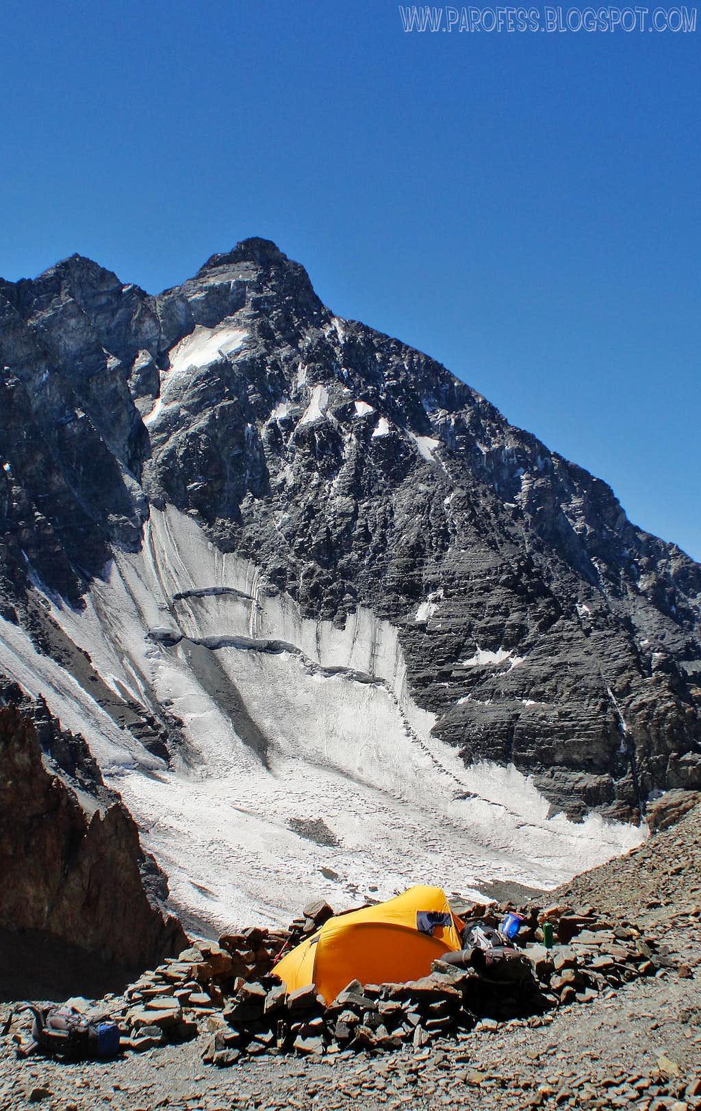Rincon and its glacier from my camp at La Hoyada, 4670m