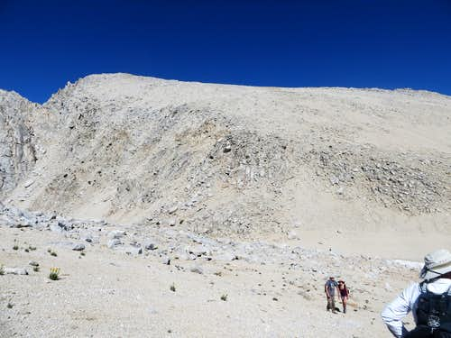 View of Mono Pass Peak while ascending Mount Starr