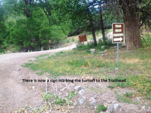 Turn off to South Fork Road (Trailhead)