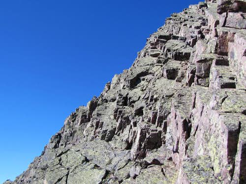 Class III climbing begins near the summit