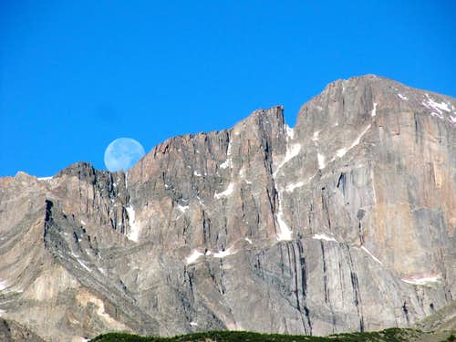 Early Morning Moon Over Longs
