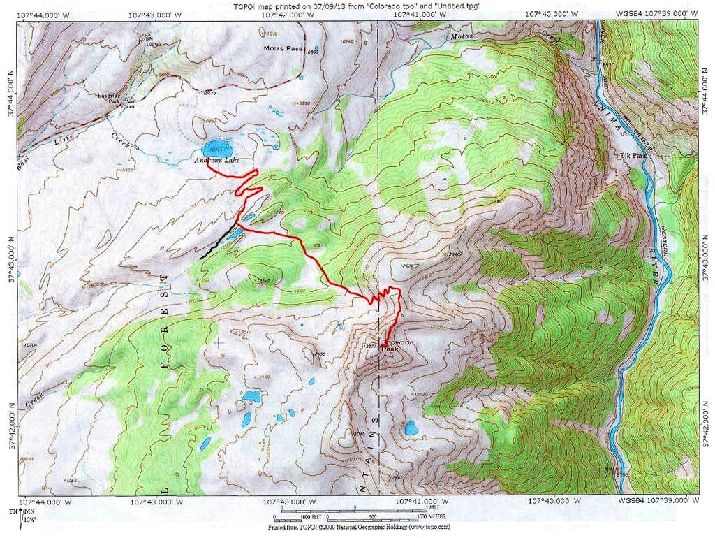 Map of NE Ridge Route