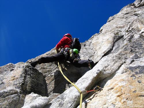 Climbing on Poncione Cassina Baggio S face