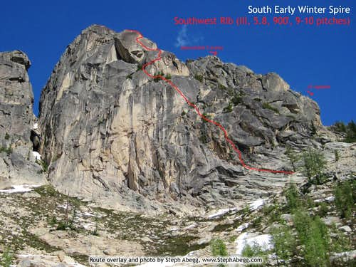 South Early WInter Spire, Southwest Rib route overlay