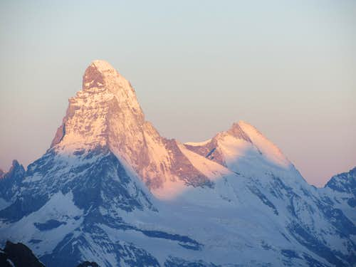 Matterhorn and Dent d\'Hérens at sunrise