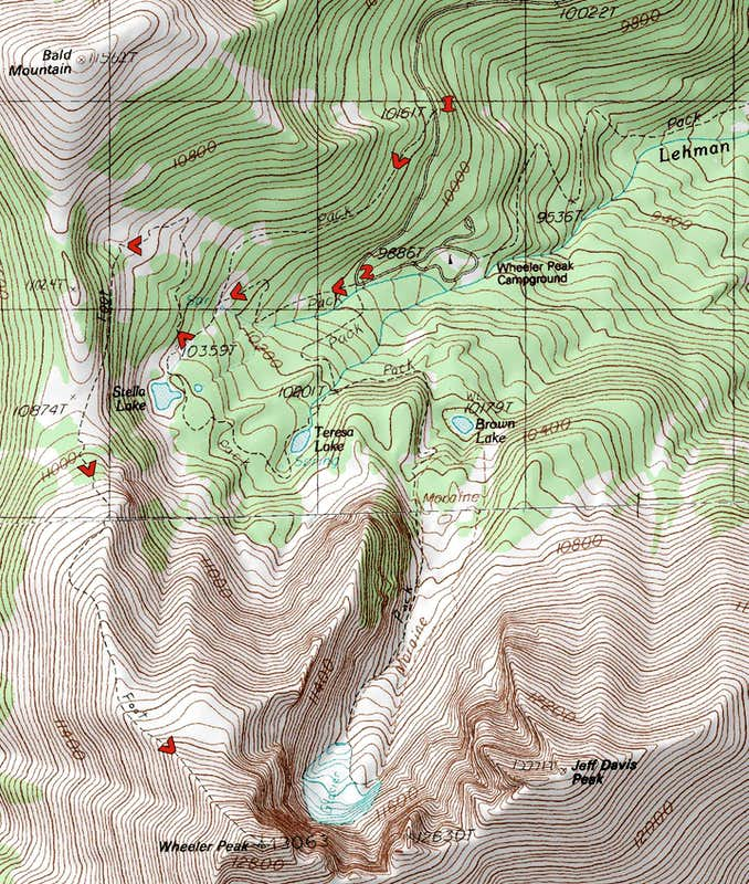 Wheeler Peak Climbing Hiking Mountaineering SummitPost - Us map baker peak