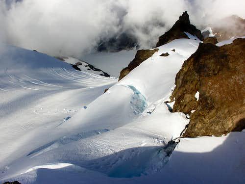Summit Shot Down Blue Glacier