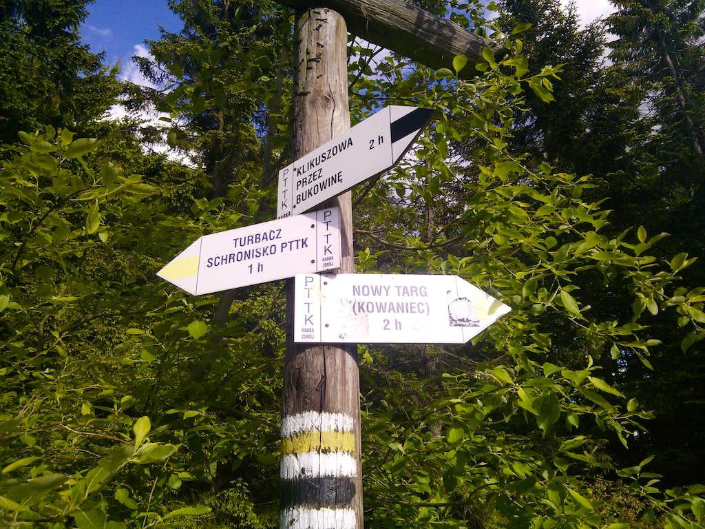 Signpost at Bukowina Miejska