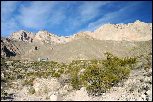Guadalupe Peak\'s steep south...