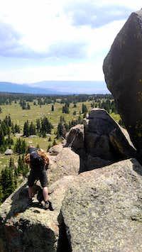 Climbing on Boulders on Fish Lake Hightop