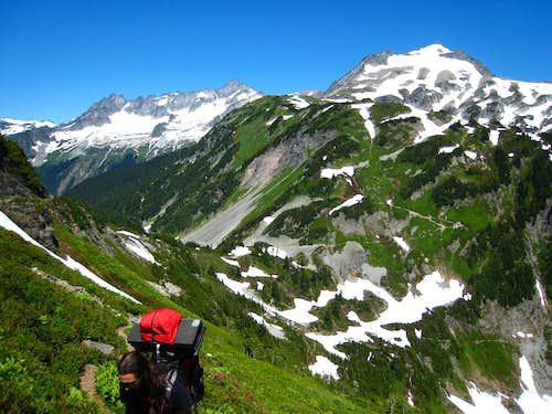 Hiking above Cascade Pass