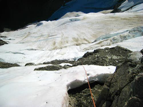 Looking down the Formidable glacier