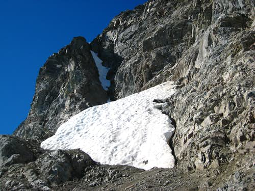 Looking up the neve couloir