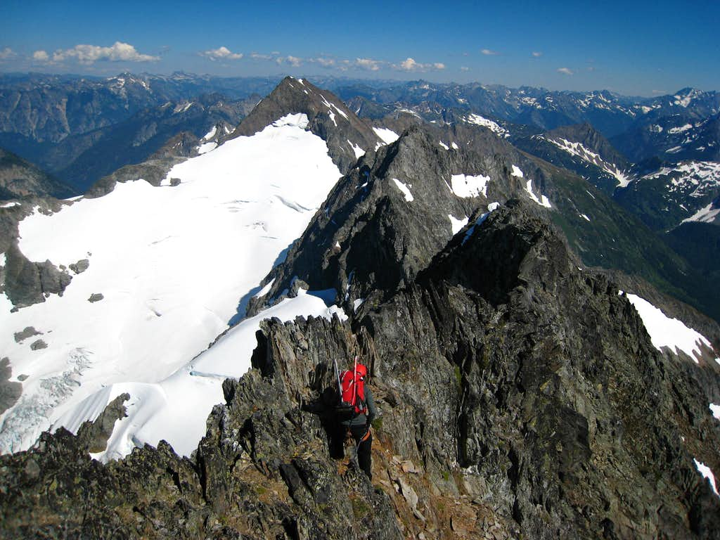 Scrambling down from the summit