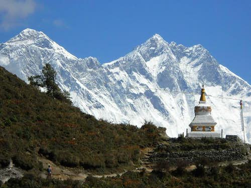 View of Everest and Lhotse