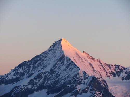 Weisshorn touched by the first rays of sun