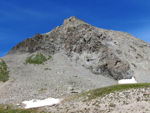 Below the eastern ridgeline of Peak 13132 ft