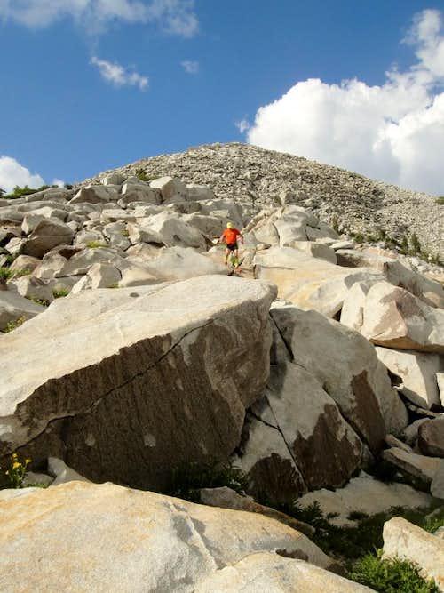 Descending the massive pile of rocks that is South Thunder Mtn