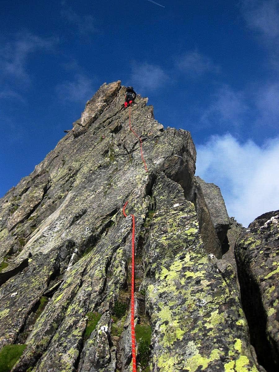 Hans Wim leading on the Wilde Leck east ridge